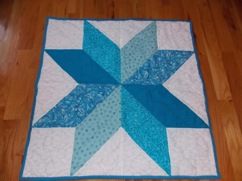 Texas Star Baby Quilt Handmade Cat Dog Reverse Print
