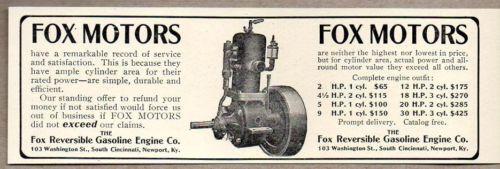 1907 Print Ad Fox Motors Reversible Gasoline Engine Co. Newport,KY