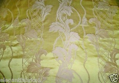 STROHEIM NEOCLASSICAL EMPIRE ACANTHUS SILK DAMASK FABRIC 3 YARDS CITRINE GOLD