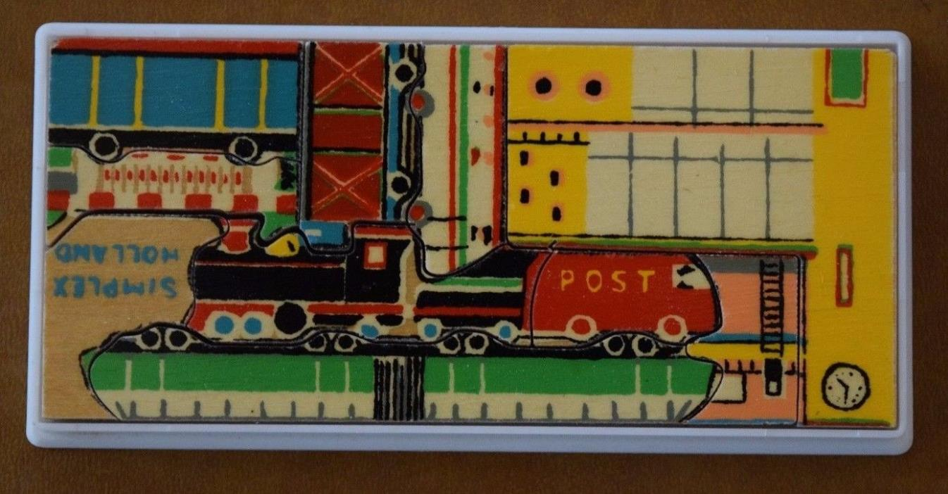 Vintage Mini SIMPLEX Holland Wooden Train Puzzle - Complete with case