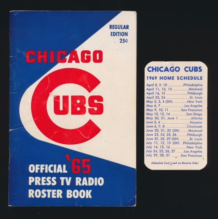 1965 Chicago Cubs Official Media Guide Roster Book & 1969 Cubs Pocket Schedule