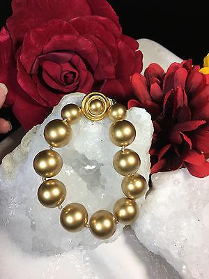 Beautiful Carolee Large Gold Pearl Bracelet Vintage Jewelry Signed