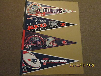 NFL New England Patriots Vintage 1996-2003-2004-2016 AFC Champions Pennants