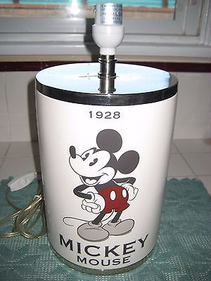 Vintage White Glass Table Lamp Mickey Mouse