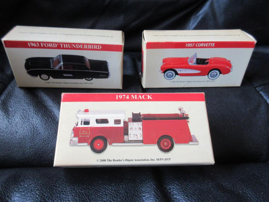 READER'S DIGEST 3 DIE-CAST REPLICA (2000/1) MACK FIRE TRUCK THUNDERBIRD CORVETTE