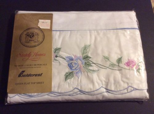 VINTAGE FIELDCREST QUEEN SIZE WHITE WITH EMBROIDERY FLOWERS FLAT SHEET