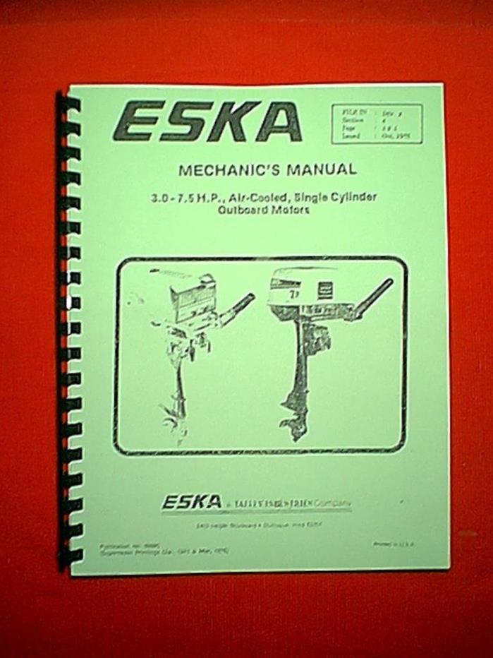 NEW ESKA 3 - 7.5 HP TECUMSEH OUTBOARD MOTOR MECHANICS REPAIR MANUAL
