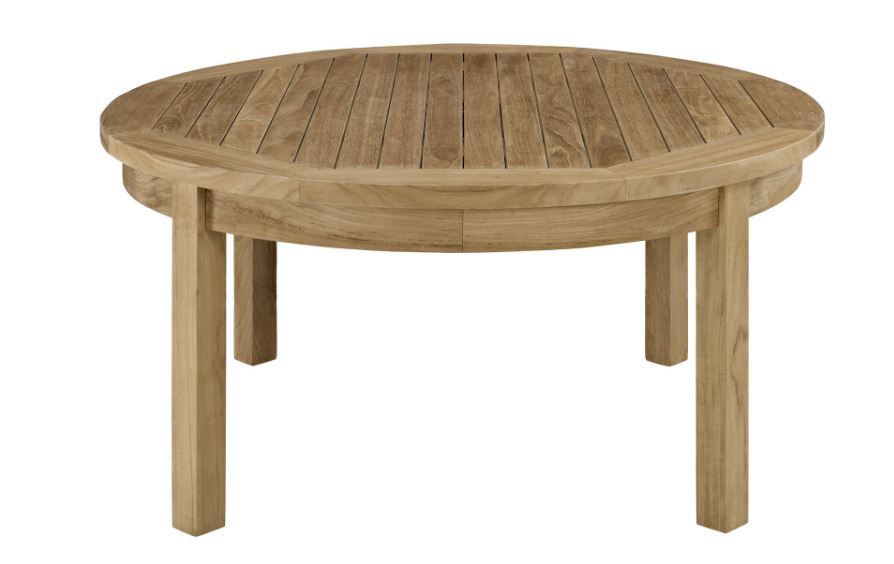 Outdoor Wooden Table Wood Rustic Coffee Patio Deck Round Modern Natural Poolside