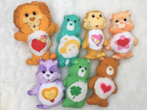 Vintage Care Bears Plush Fabric Panels Stuffed & Hand Sewn Pillows Lot of 7 1980