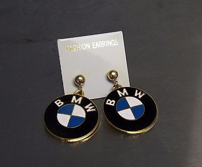 BMW Propeller Logo  Earrings Post Style Cloisonne