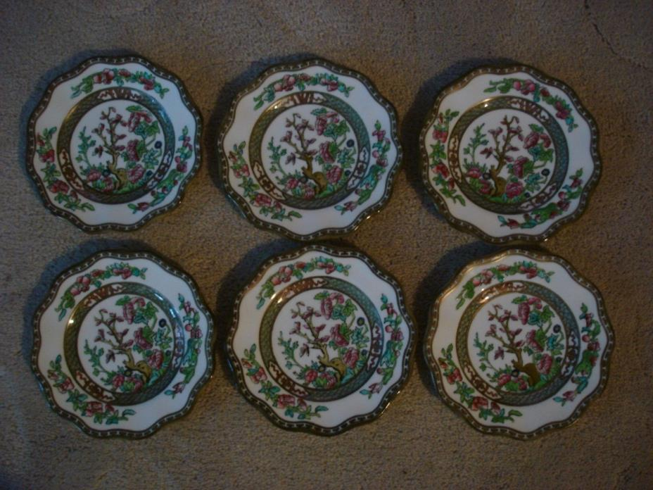 6 - Coalport Indian Tree - China  - Bread and Butter Plates - 5.75