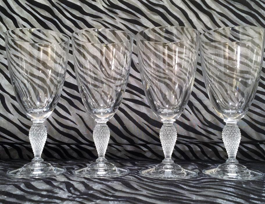 4 Mikasa CARAT Clear Crystal Water/Wine Glasses w/Textured Stem 7 inches tall