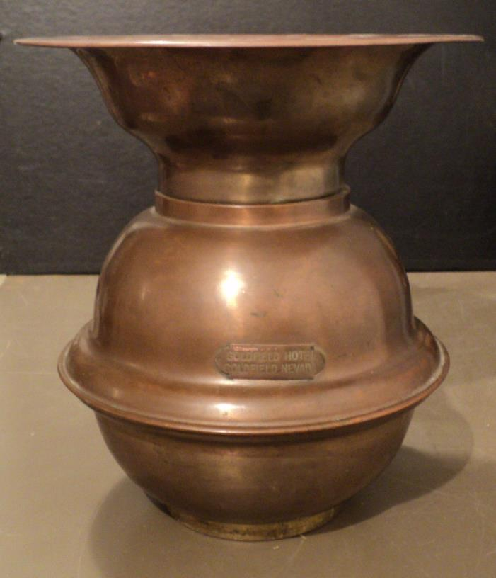 Antique Vintage Goldfield Hotel Large Brass and Copper Spittoon