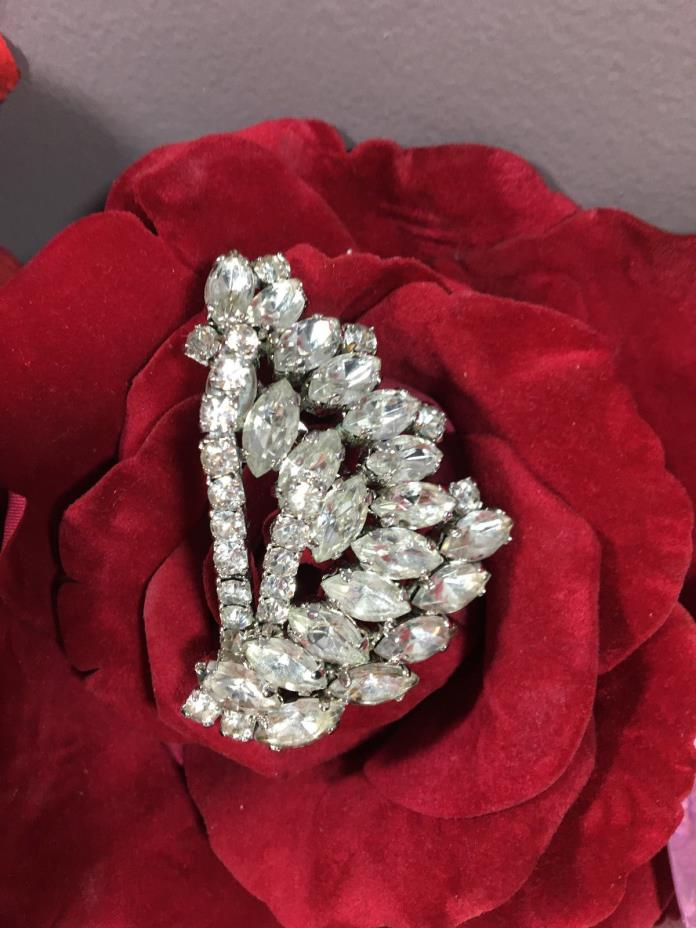 Gorgeous Large Rhinestone Dome Pin True Vintage Jewelry Silver Brooch Art Deco