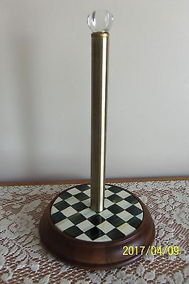 NEW MACKENZIE-CHILDS COURTLY CHECK WOOD PAPER TOWEL HOLDER