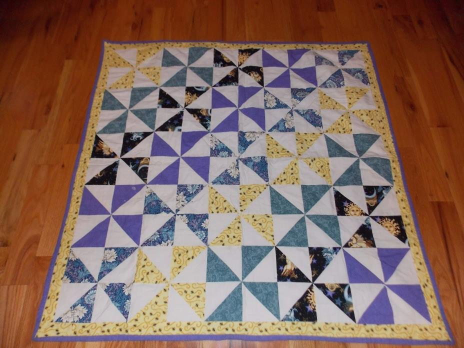 8 Patch Pinwheel Baby Quilt Bees Moon Stars Handmade Tagged