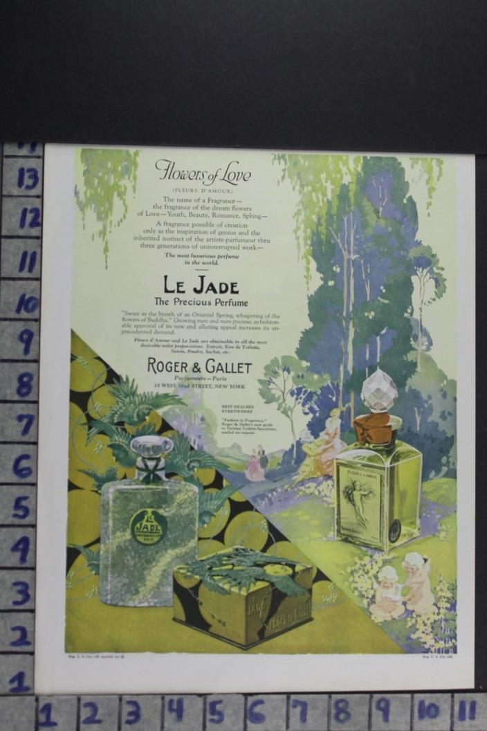 1924 HEALTH BEAUTY PERFUME BOTTLE ROGER GALLET ROMANCE LOVE VINTAGE AD EF077