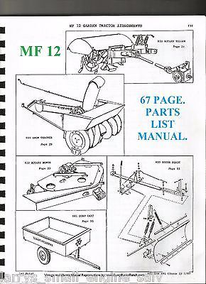 MASSEY FERGUSON MF PARTS MANUAL 650 ROTARY TILLER 620 SNOW THROWER 641 DUMP CART