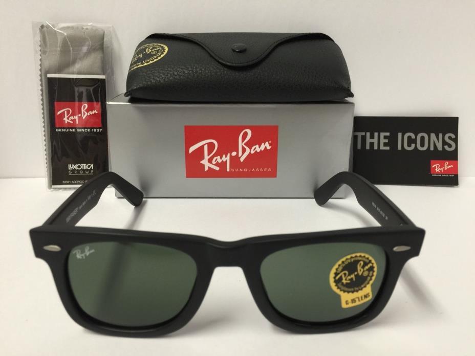 Ray-Ban RB2140 901S Wayfarer Sunglasses Matte Black Frame Green Lenses 50mm