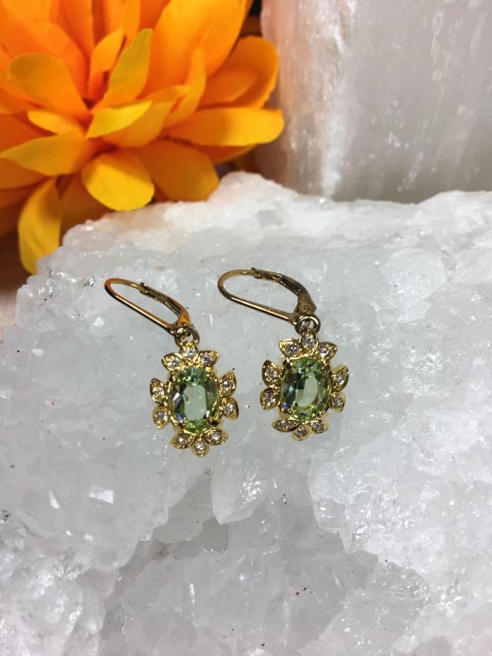 Beautiful Nolan Miller Collection Gold Green Rhinestone Pierced Earrings