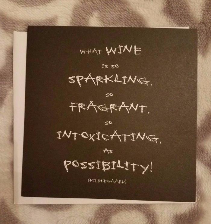 Quotable Cards Blank Greeting Card Wine Kierkegaard Black w/ Envelope