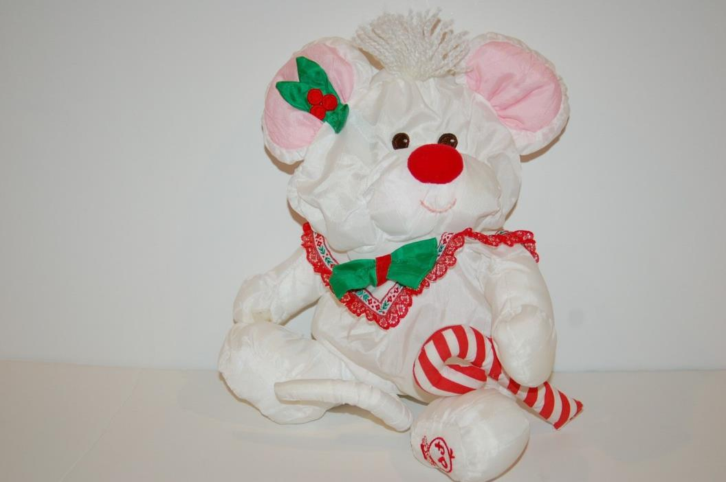 Fisher Price Puffalump White Christmas Mouse w/Candycane Vintage Stuffed Animal
