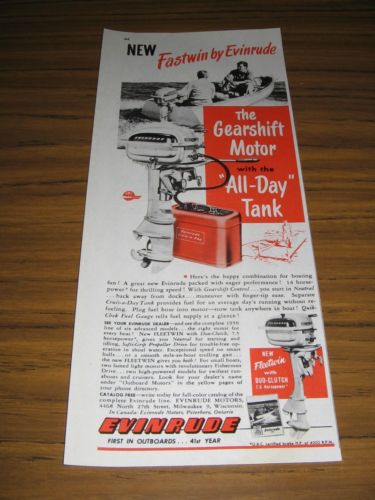 1950 Print Ad Evinrude Fastwin 7.5 HP Outboard Motors All Day Tank Milwaukee,WI