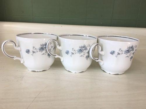 Johann Haviland Bavaria Germany 3 Blue Garland Coffee/Tea Cup's Stunning