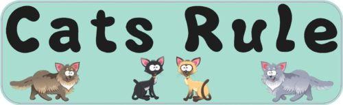 10×3 Cats Rule Funny Vinyl Cat Bumper Stickers Decals Window Sticker Car Decals