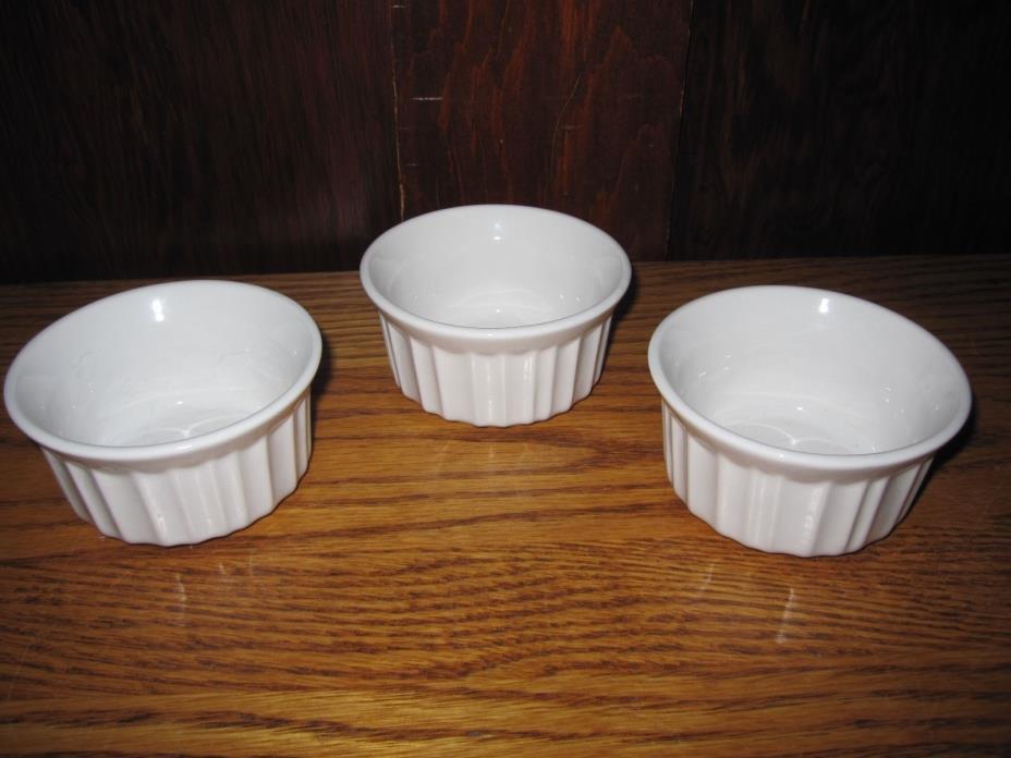 Corning Ware French White Ramekins 4 oz 115 ml ~ Set of 3 Small Stoneware Dishes