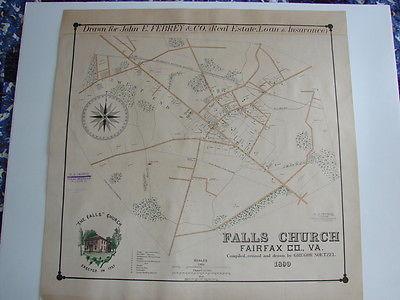 1890 Noetzel Map of Falls Church VA Real Estate Promotion New Racist Town Limits