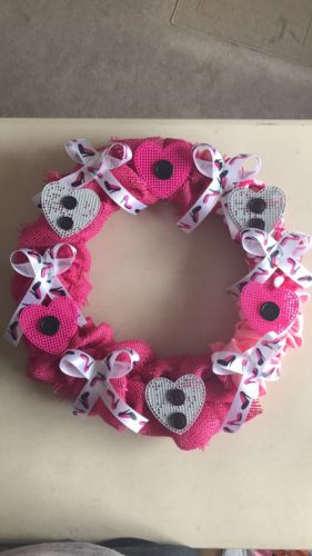 Whimsical Round Pink Burlap Ribbon And Hearts And Heels Wreath