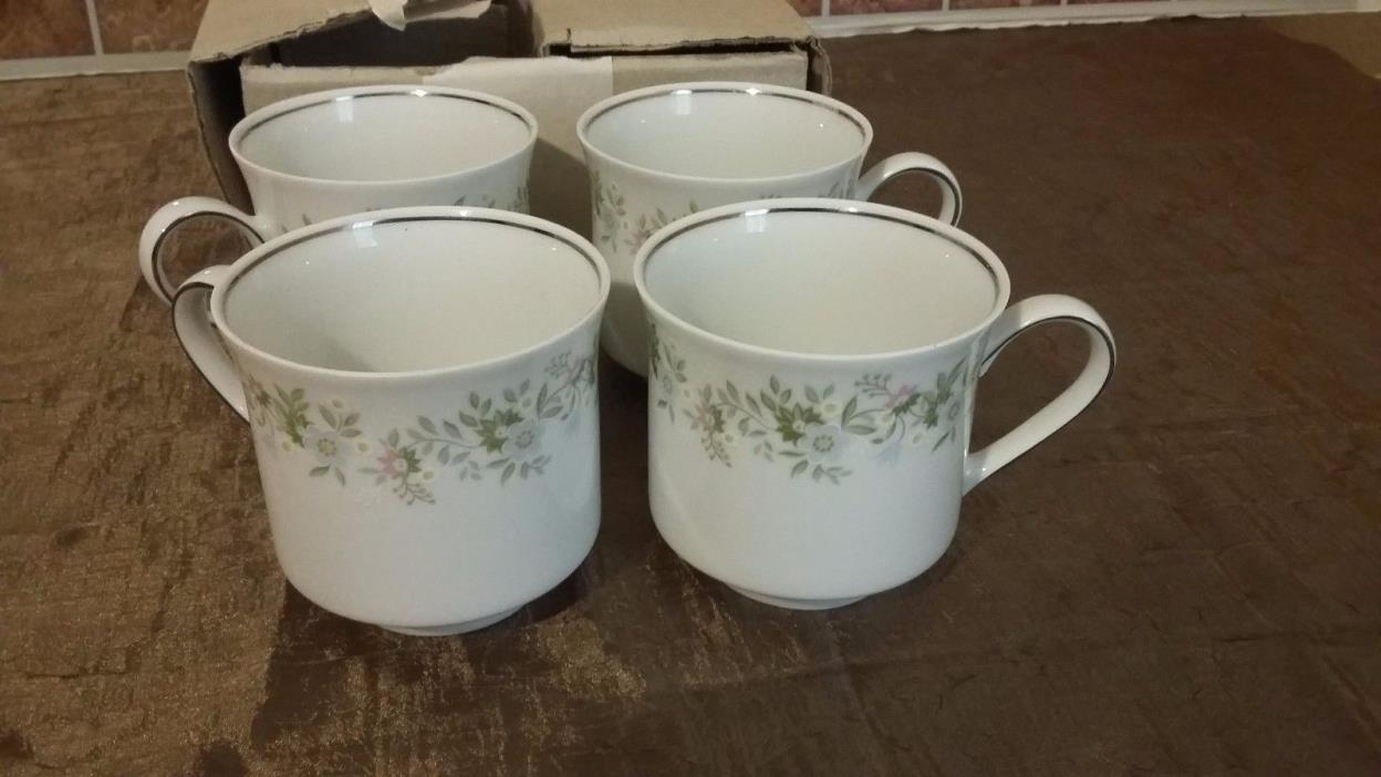Johann Haviland Set of 4 Vintage White Forever Spring Pattern Tea Coffee Cups