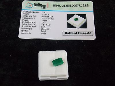 3.10 ct. Natural Emerald Cut Certified Colombian Emerald Loose Gemstone