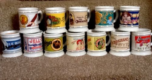 Vintage Franklin Porcelain Corner Store Porclean Mug Collection w/certification
