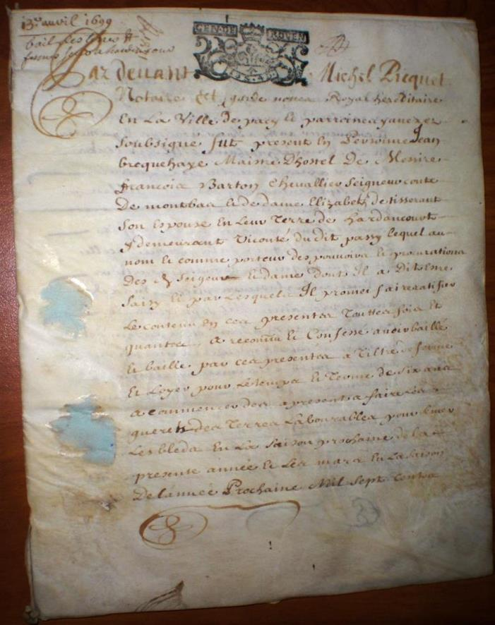 318 Year Old French Document, Parchment  (Animal Skin?) 6 Pages,12 Scripted.....
