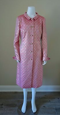 NWT ESCADA Dress Coat US10/EU40 Pink Brocade Faux Pearl Buttons Mid-Calf