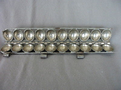 VINTAGE METAL CHOCOLATE EASTER EGG HINGED MOLD OF 10 EGGS