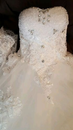 New Wedding white sequins Dress sz 7-9  sweetheart strapless Empire A-line $350