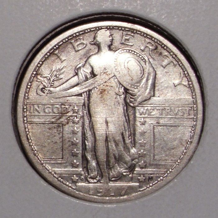 1917 D Type 1 Standing Liberty Silver Quarter , Fine