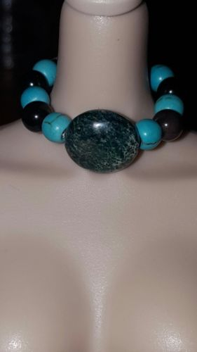 turquoise black and sea sediment barbie fashion royalty necklace