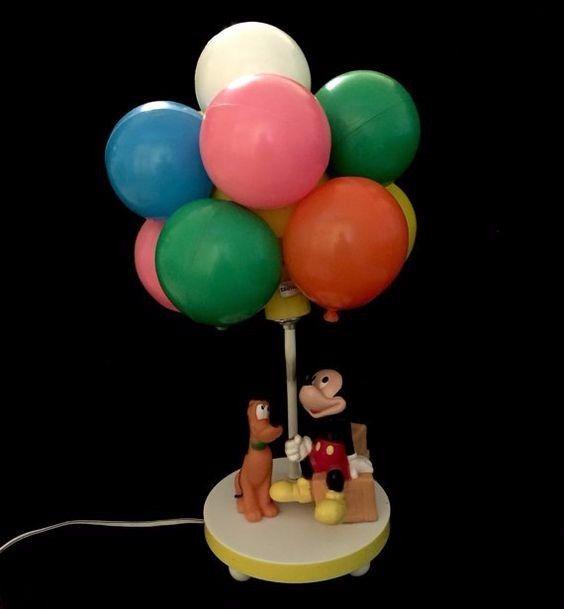 Vintage Walt Disney Mickey Mouse/Pluto Balloon Lamp Light