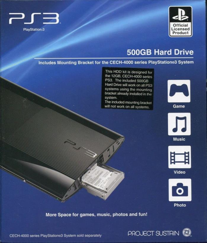(NEW SEALED) PS3 PLAYSTATION 3 500GB HARD DRIVE 500 GB PROJECT SUSTAIN
