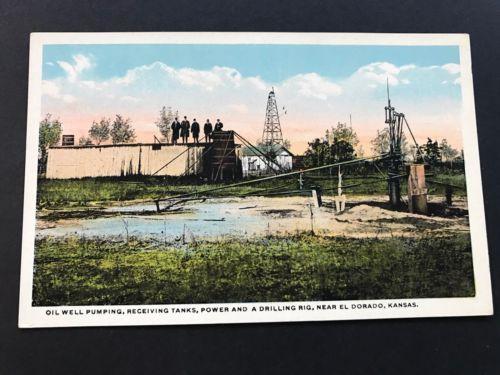 El Dorado, Kansas KS - OIL WELL PUMPING, RECEIVING TANKS, DRILLING RIG, Postcard