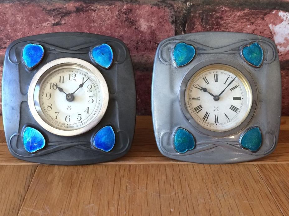 Rare Pair 1904 Art Nouveau Liberty & Co Archibald Knox Tudric 0492 Table Clocks
