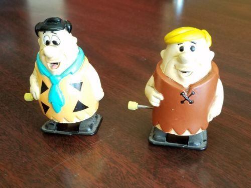 Vintage  Flintstones Rubber Fred Barney Wind Up Walker 1992 1993
