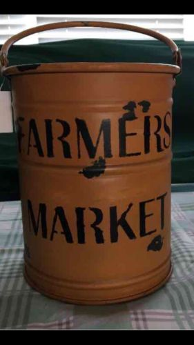Large Farmhouse Bucket Decor Vase Rustic Vintage