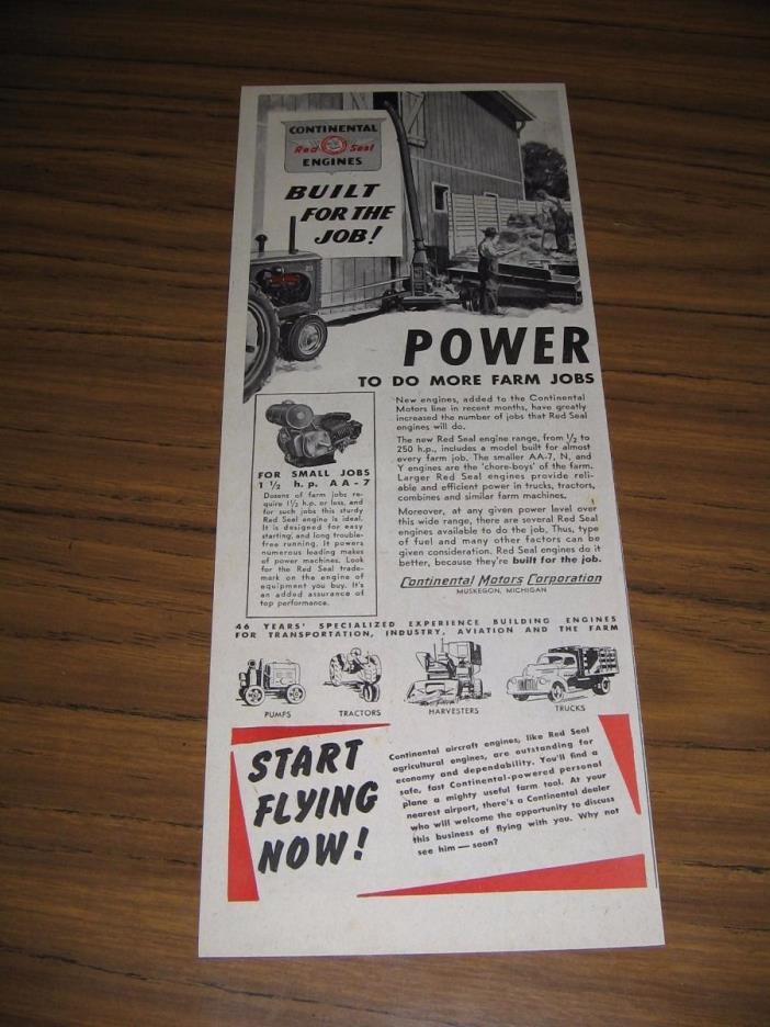 1948 Print Ad Continental Red Seal Engines Farm Tractor,Truck Muskegon,MI