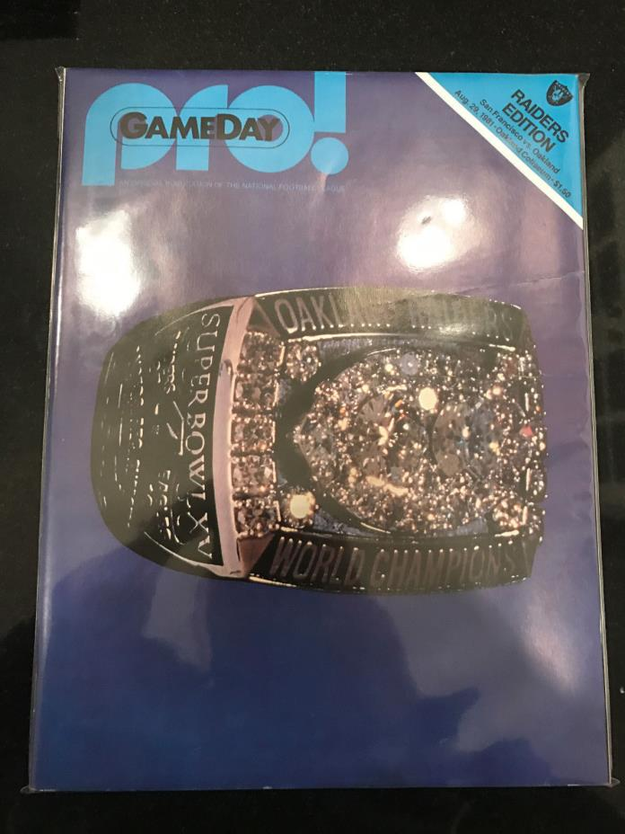 8/29/1981 SF 49ers  vs Raiders - Raiders Super Bowl ring on cover