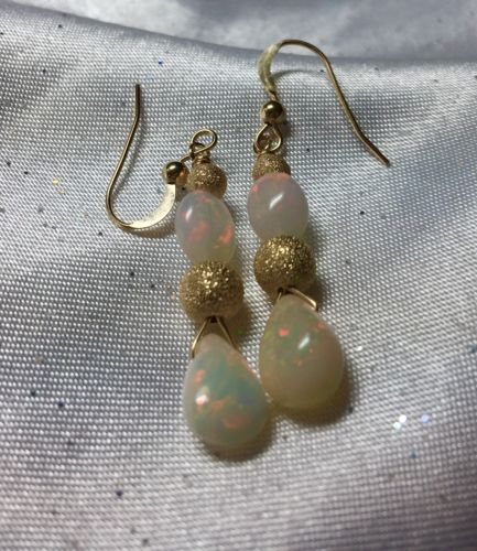 14K OPAL PEAR EARRINGS, AMAZING GEMSTONES, FULL RAINBOW COLORS